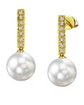 South Sea Pearl Dangling Diamond Earrings - Secondary Image