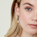 Freshwater Drop Pearl & Amethyst Hailey Tincup Earrings - Model Image