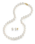 8-9mm Freshwater Pearl Necklace & Earrings - Secondary Image
