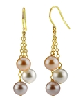 Freshwater Multicolor Pearl Cluster Earrings - Third Image