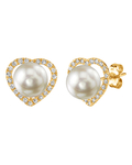 Freshwater Pearl & Diamond Amour Earrings - Secondary Image