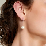 Freshwater Pearl & Diamond Serena Earrings - Model Image