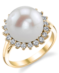 Freshwater Pearl & Diamond Sage Ring - Secondary Image