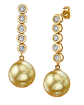 Golden South Sea Pearl & Diamond Cascade Earrings