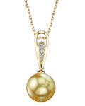 Golden Pearl & Diamond Bailey Pendant