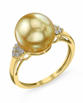 Golden South Sea Pearl & Diamond Shelby Ring