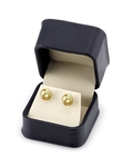 7mm Golden South Sea Pearl Stud Earrings - Secondary Image