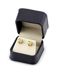 9mm Golden South Sea Pearl Stud Earrings- Choose Your Quality - Secondary Image
