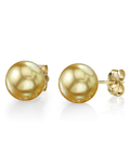 9mm Golden South Sea Pearl Stud Earrings- Choose Your Quality