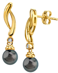 Tahitian South Sea Pearl & Diamond Madison Earrings - Model Image