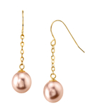 14K Gold Drop-Shape Pink Freshwater Pearl Lila Tincup Earrings - Model Image