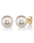 12mm White Freshwater Pearl Stud Earrings - Model Image