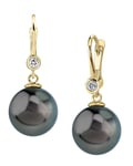 Tahitian South Sea Pearl & Diamond Michelle Earrings - Model Image