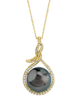14mm Tahitian South Sea Pearl & Diamond Agnes Pendant - Model Image