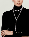 10-11mm White Freshwater Pearl & Diamond Adjustable Y-Shape Necklace- AAAA Quality - Model Image