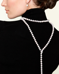 10-11mm White Freshwater Pearl & Diamond Adjustable Y-Shape Necklace- AAAA Quality - Secondary Image