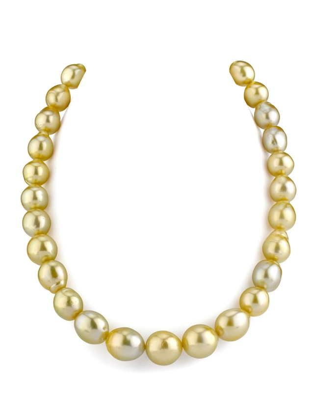 11-13mm Drop-Shape Golden South Sea Pearl Necklace - AA+ Quality