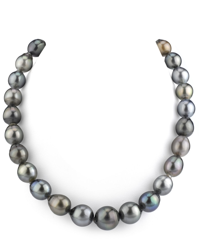 11-14mm Tahitian South Sea Multicolor Drop-Shape Pearl Necklace