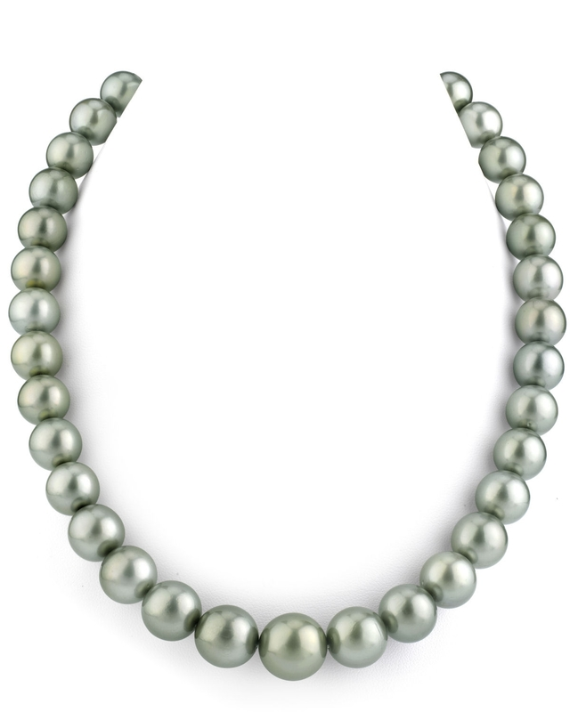 11-13mm Silver Tahitian South Sea Pearl Necklace - AAA Quality