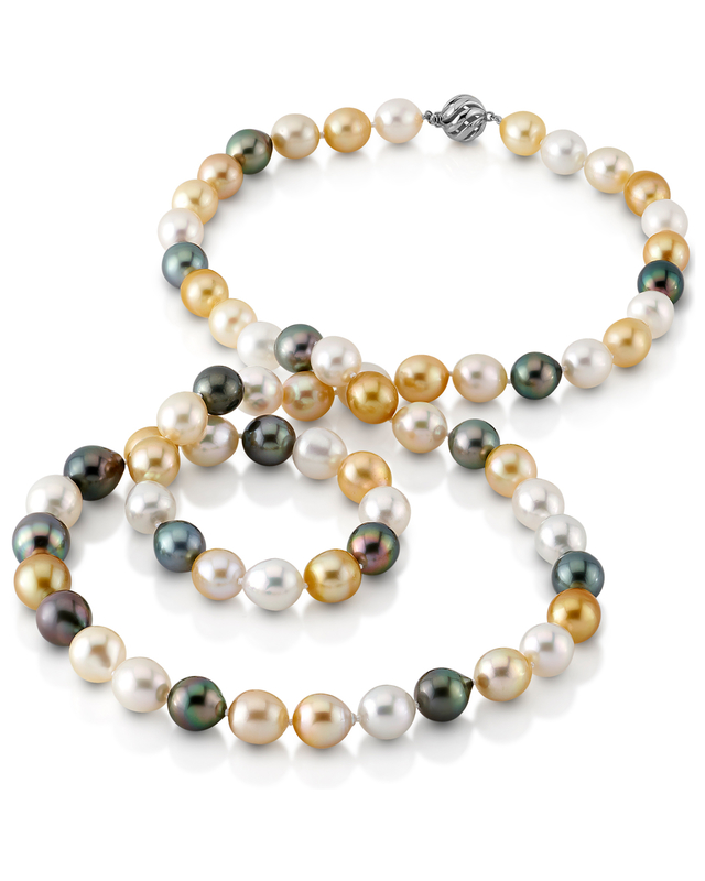11-13mm Opera Length South Sea Multicolor Oval Pearl Necklace -  AAAA Quality