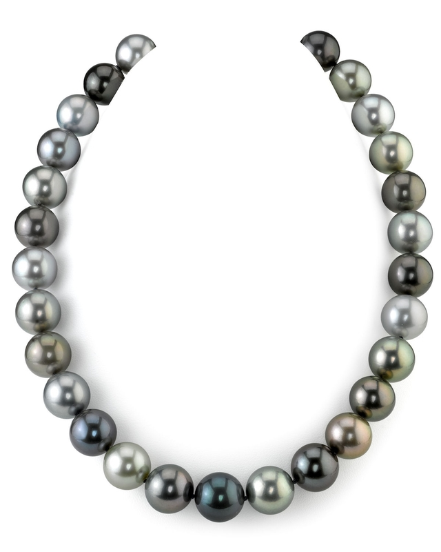 13-14mm Tahitian Multicolor Pearl Necklace - AAAA Quality