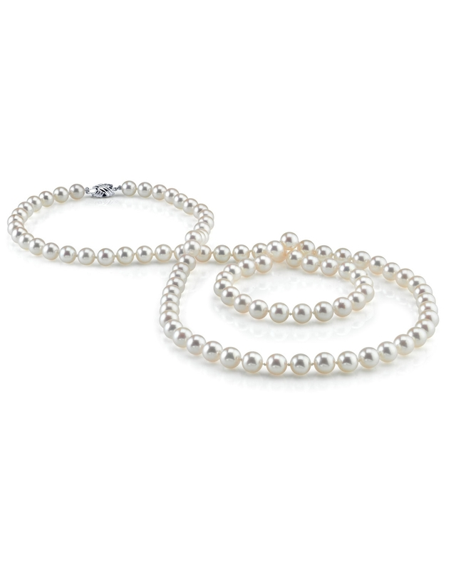 7.5-8.0mm Opera Length Japanese Akoya Pearl Necklace