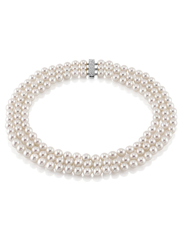 Hanadama Akoya White Pearl Triple Strand Necklace