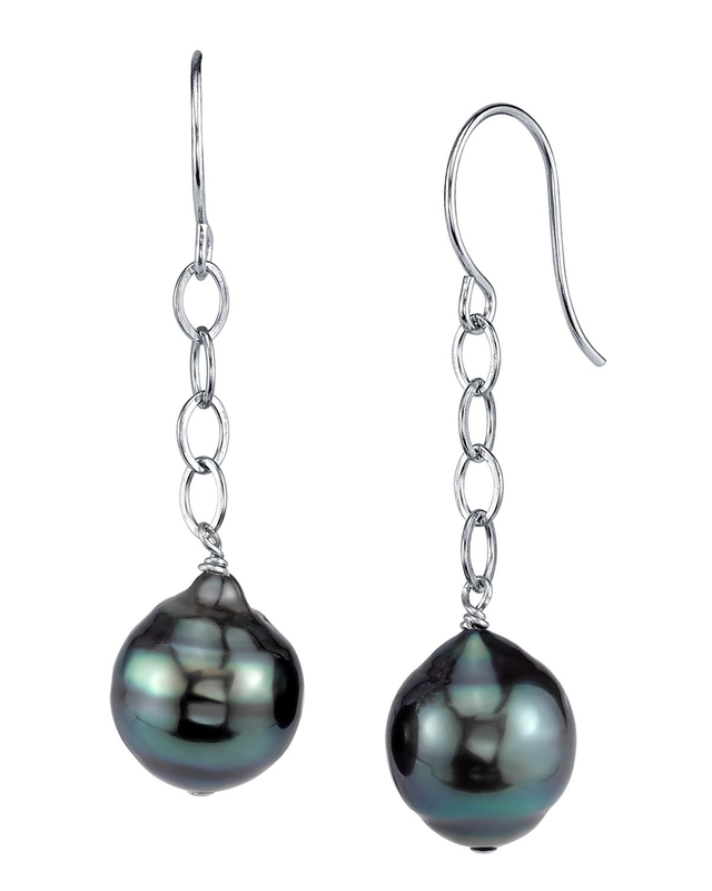Tahitian South Sea Baroque Pearl Dangling Tincup Earrings