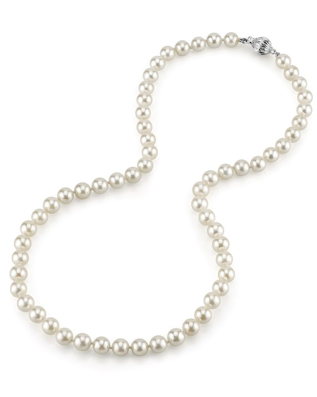 6.5-7.0mm Japanese Akoya White Pearl Necklace- AA+ Quality