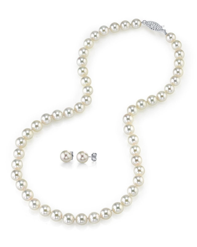7.5-8.0mm Japanese White Akoya Pearl Necklace & Earrings