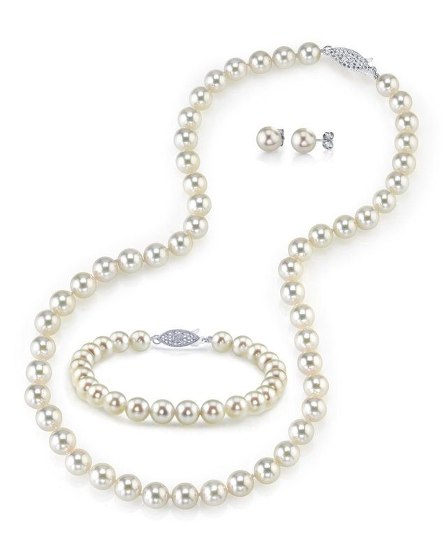 6.5-7.0mm Japanese Akoya White Pearl Set