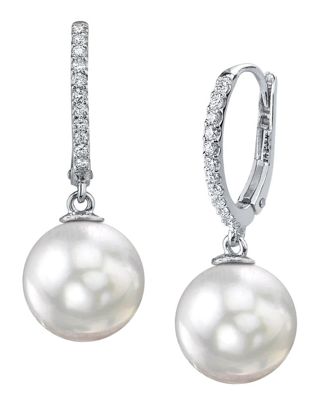 South Sea Pearl & Diamond Aurora Leverback Earrrings