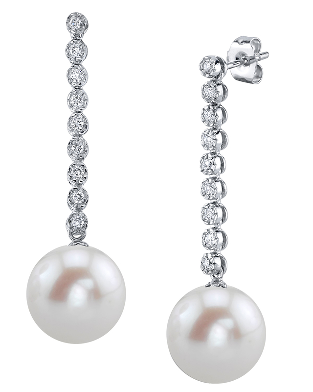 Freshwater Pearl & Diamond Serena Earrings
