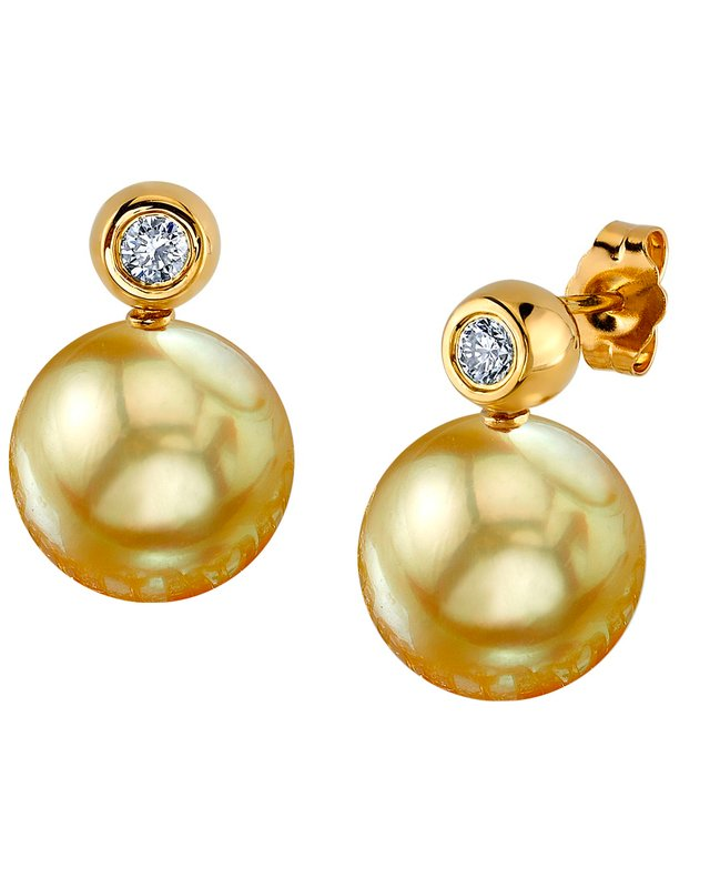 Golden South Sea Pearl & Diamond Dakota Earrings