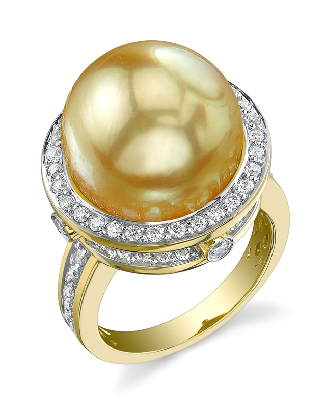 Golden Pearl & Diamond Bella Ring