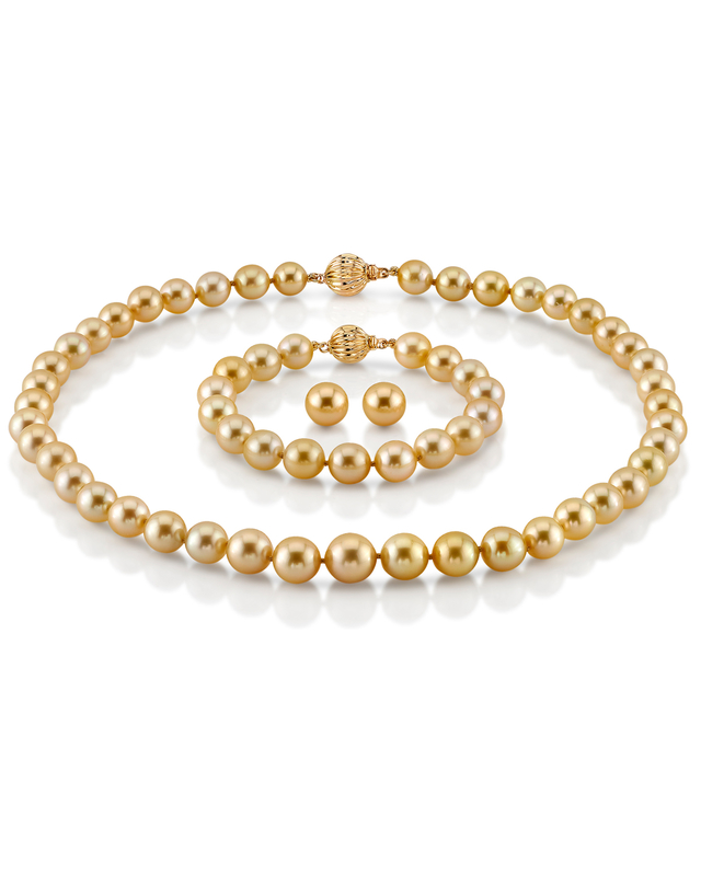 8-10mm Golden Round South Sea Pearl Set