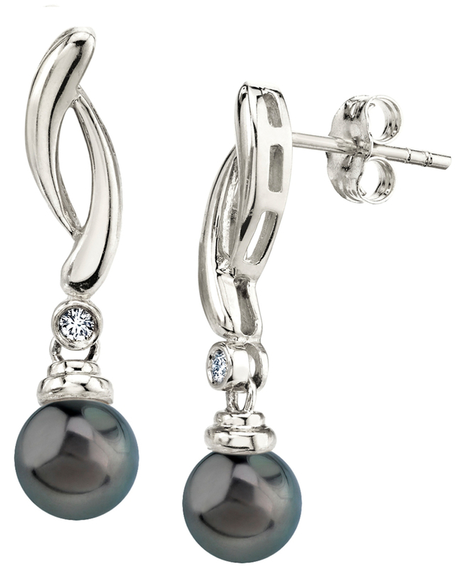 Tahitian South Sea Pearl & Diamond Madison Earrings