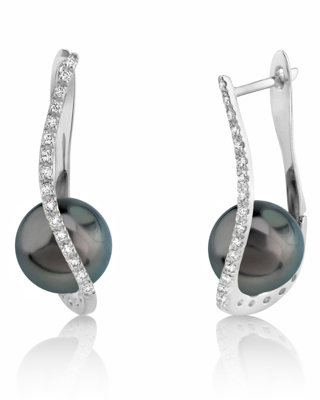 Tahitian South Sea Pearl & Diamond Eliza Earrings