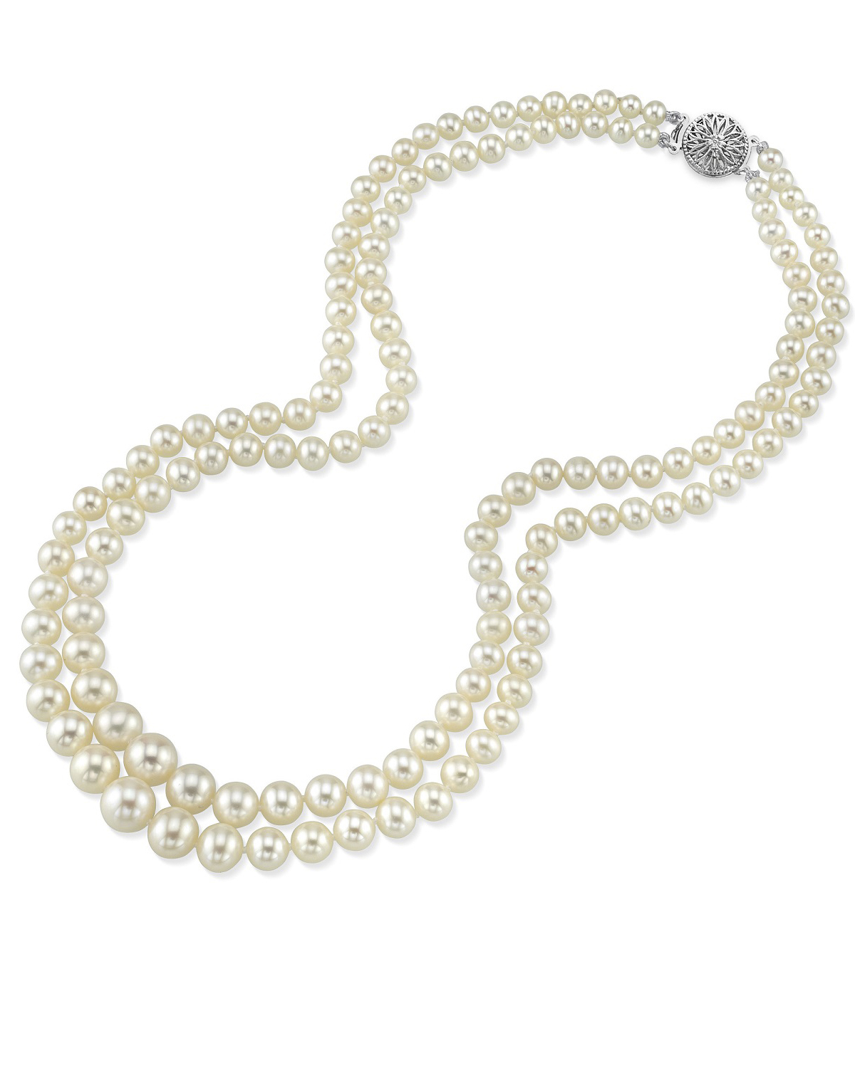 4.0-8.0mm White Freshwater Pearl Double Strand Necklace