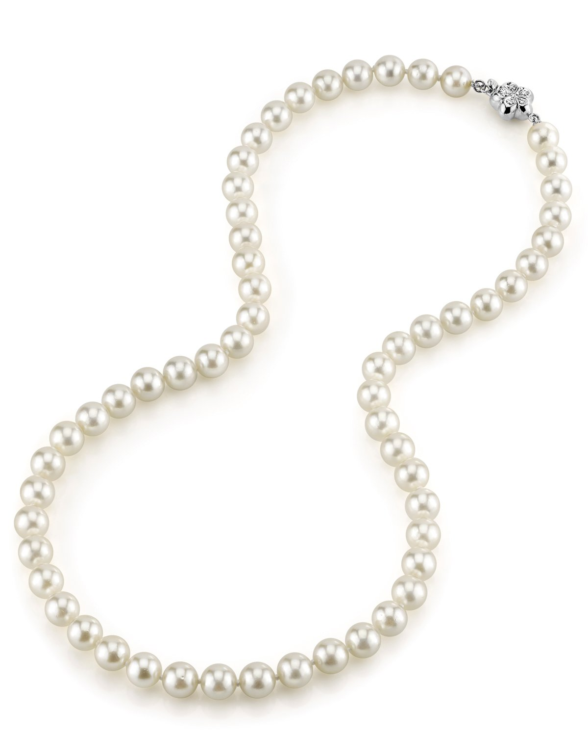 7.0-7.5mm Japanese Akoya White Choker Length Pearl Necklace- AA+ Quality