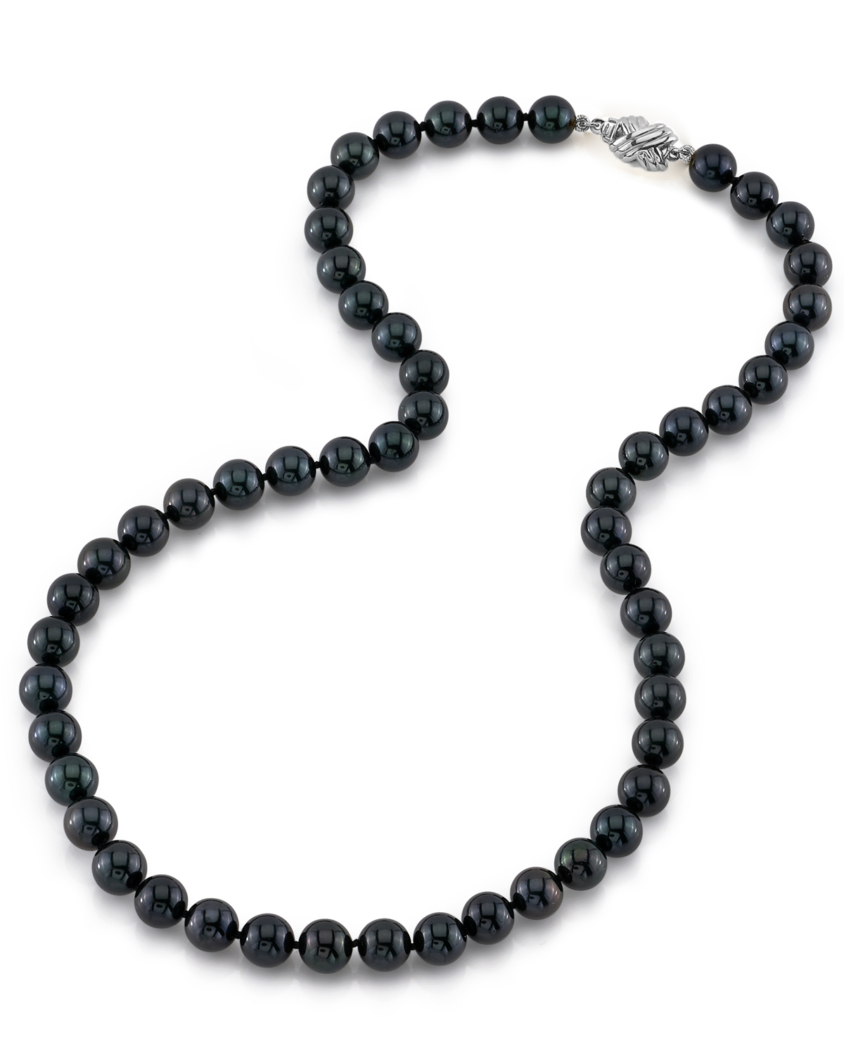 7.5-8.0mm Japanese Akoya Black Pearl Necklace- AAA Quality