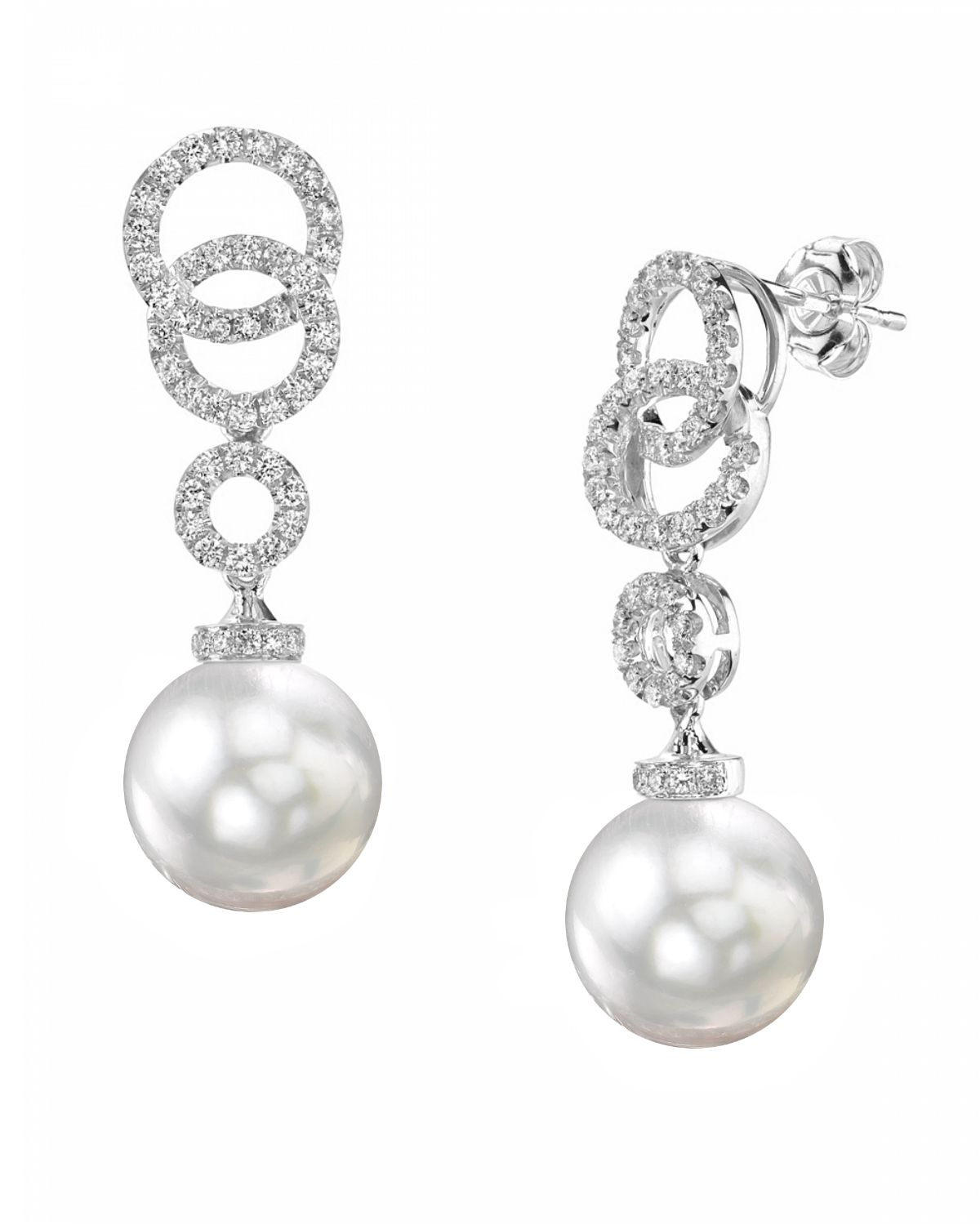 South Sea Pearl & Diamond Link Earrings