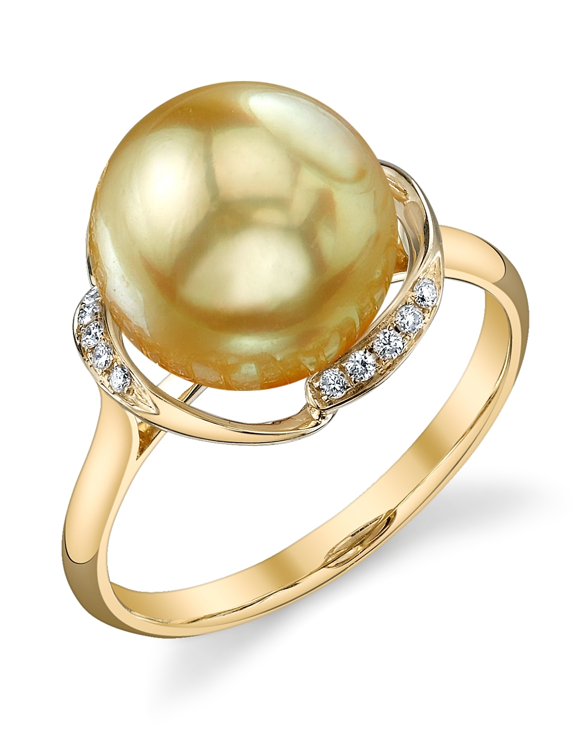 Golden Pearl & Diamond Ruby Ring