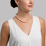 11-12mm Peach Freshwater Pearl Necklace - Model Image