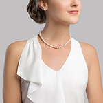 6.5-7.0mm Japanese Akoya White Choker Length Pearl Necklace- AA+ Quality - Model Image