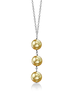 Golden South Sea Pearl Triple Drop Pearl Pendant - Model Image