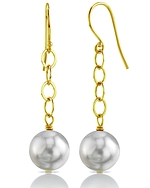 South Sea Round Pearl Dangling Tincup Earrings - Model Image