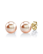 11mm Peach Freshwater Pearl Stud Earrings - Model Image