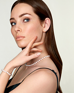 Japanese Akoya White Pearl Sets in AA+ Quality - Model Image
