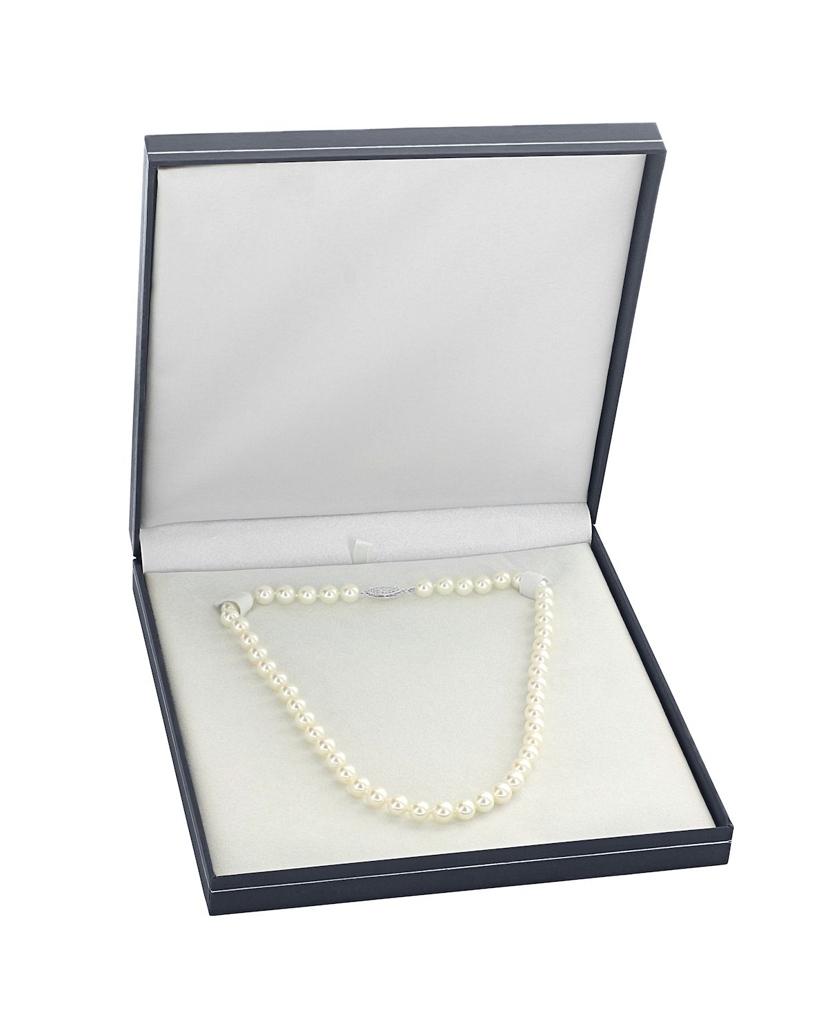 7.5-8.0mm Japanese Akoya White Pearl Necklace- AAA Quality - Fourth Image